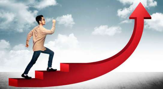 Conceptual Image. Business man step on stair with red arrow shape going up